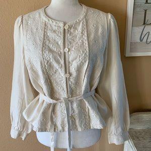 🆕 NWOT J. Crew Ivory Linen Button Blazer Size 12